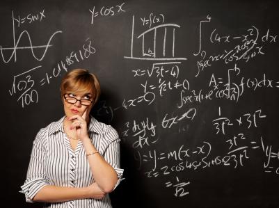 Pani profesor i całki oznaczone na tablicy